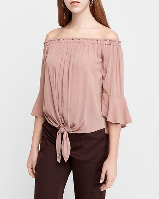 Express Tie Front Off The Shoulder Top