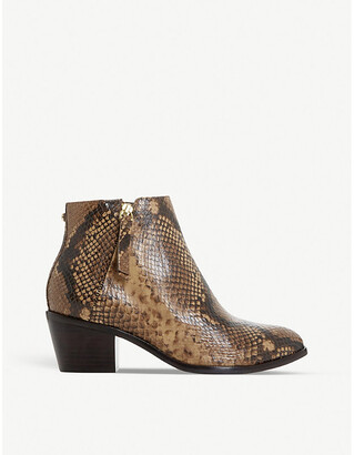 Dune Paramount snake-embossed leather heeled ankle boots