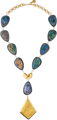 Devon Leigh Water Buffalo & Abalone Pendant Necklace