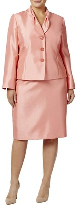 Le Suit LeSuit Women's Plus Size Shiny 3 Button Skirt Suit