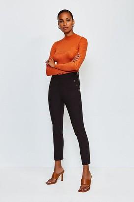Karen Millen Button Detail Cotton Sateen Capri Trousers