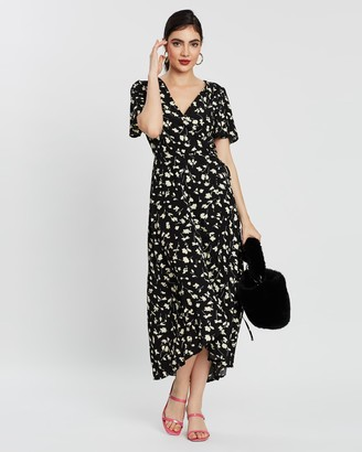 Missguided High-Low Short Sleeve Print Midi Dress