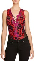 GUESS Bestia Embroidered Lace-Up Bodysuit
