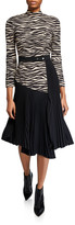 A.L.C. Peyton Zebra Mock-Neck 3/4-Sleeve Pleated Dress