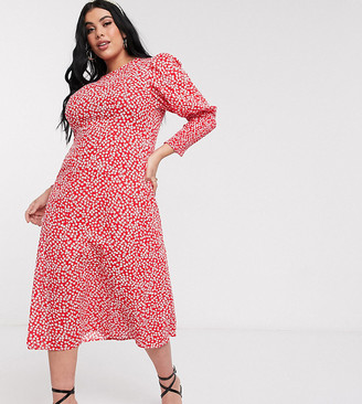 Never Fully Dressed Plus long sleeve midaxi dress in red floral print