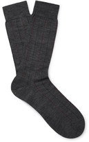 Pantherella Cabbell Pinstriped Merino Wool-blend Socks - Charcoal