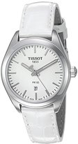 Tissot Women's 'Pr 100' Swiss Quartz Stainless Steel and Leather Watch, Color:White (Model: T1012101603100)