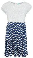 John Lewis Girls' Chevron Stripe Jersey Dress, Navy/Grey