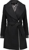 Mackage Leather-trimmed wool-blend coat