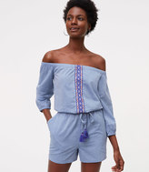 LOFT Beach Chambray Embroidered Romper