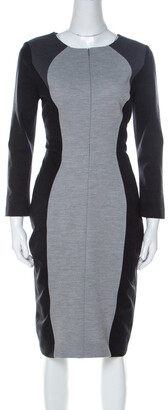 Escada Grey Colorblock Wool Blend Front Zip Sheath Dress M