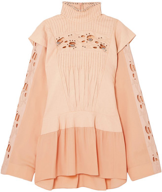 Chloé Embellished Broderie Anglaise Linen And Cady Turtleneck Blouse