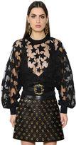 Elie Saab Stars Embroidered Sheer Tulle Top