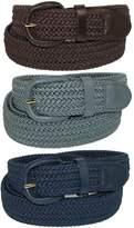 CTM® Men's Elastic Braided Stretch Belt (Pack of 3 Colors)