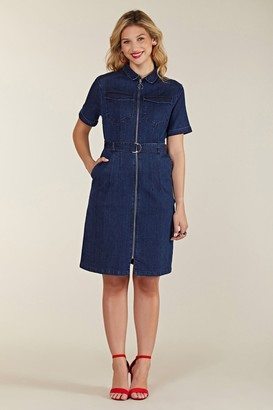 Yumi Denim Shirt Dress With Zipper