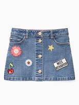 Kate Spade Girls patched denim skirt