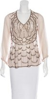 Anna Sui Embellished Silk Top