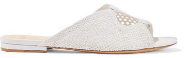 Alexandre Birman Ritha Cutout Crocheted Leather Slides - White