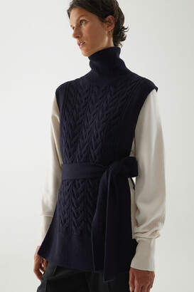 Cos Cable Knit Roll-Neck Belted Vest