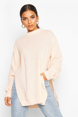 boohoo Side Split Moss Stitch Tunic Jumper