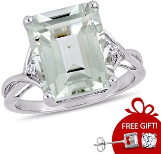 Rectangular 5 5/8 ct. Green Amethyst / White Topaz Sterling Silver Cocktail Ring by Miadora