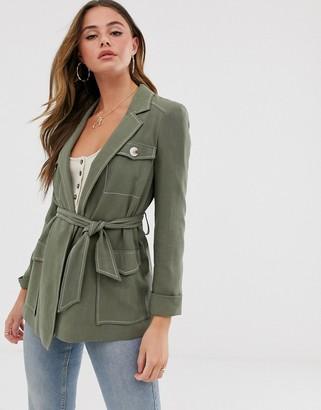 Miss Selfridge longline utility jacket in khaki