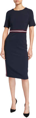 Maggy London Jewel-Neck Sheath Dress with Striped Waist