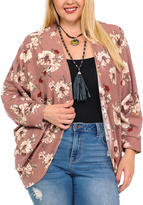 Celeste Dark Pink Contrast-Seam Cutout Top - Plus