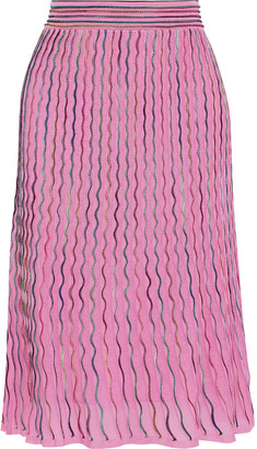 M Missoni Pleated Crochet-knit Cotton-blend Midi Skirt