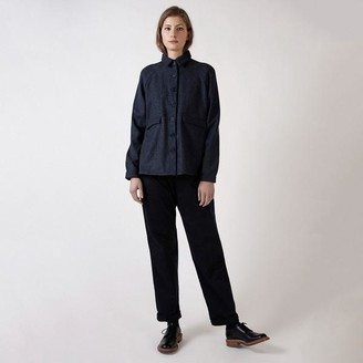 Kate Sheridan Navy Herringbone Wool A Line Jacket - S/M