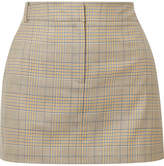 Tibi Cooper Prince Of Wales Checked Wool And Silk-blend Mini Skirt - Beige