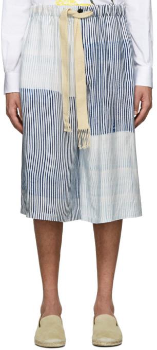 Loewe White and Blue Drawstring Shorts