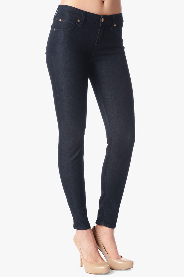 7 For All Mankind Back Zip Slim Cigarette In Reflective Sheen Rinse