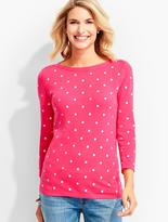 Talbots Button-Shoulder Sweater Topper-Embroidered Dots