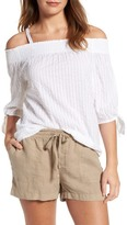 Caslon R) Off the Shoulder Tie Sleeve Top