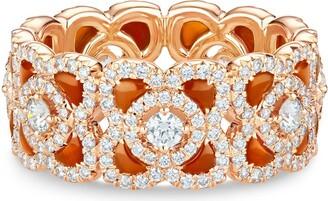 De Beers 18kt rose gold Enchanted Lotus carnelian and diamond ring