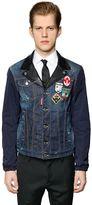DSQUARED2 Denim & Nylon Jacket W/ Leather Details
