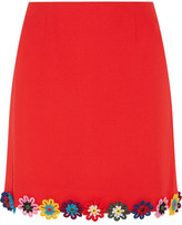 Mary Katrantzou Clovis Floral-appliquéd Wool-crepe Mini Skirt - Red