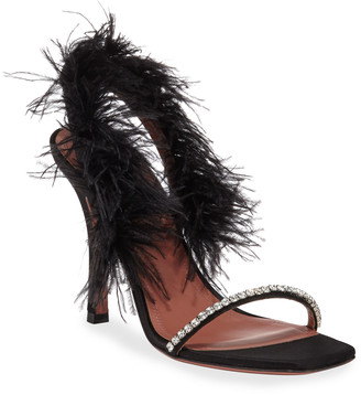 Amina Muaddi Adwoa Sandal with Feather Trim