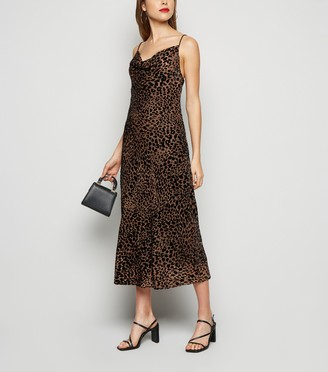 New Look Leopard Print Devore Midi Slip Dress