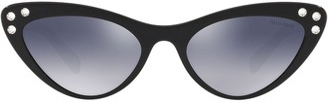 Miu Miu Crystal Embellished Cat Eye Sunglasses