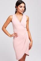 Paper Dolls Boston Blush Lace-Trim Mock Wrap Dress