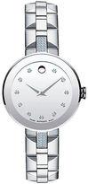 Movado Sapphire Analog Stainless Steel Diamond Marker Bracelet Watch