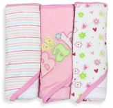 SpaSilk Baby Stripe/Baby Butterfly/Floral 3-Count Terry Hooded Towel in Pink