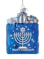 Kurt Adler Happy Hanukkah Glass Gift Bag Ornament