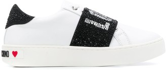 Love Moschino Rhinestone Logo 40mm Low-Top Sneakers