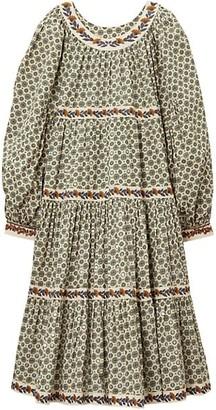 Tory Burch Medallion Print Puff-Sleeve Dress