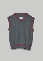 Maison Margiela Women's Knit Cropped Pullover Vest in Dark Grey/Lipstick Size XS