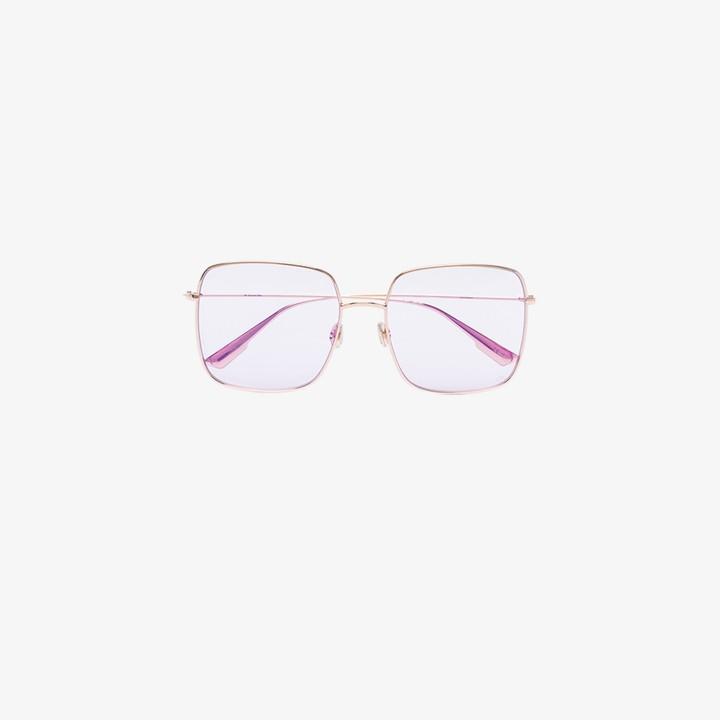 Christian Dior Gold Tone Diorstellaire1 Square Sunglasses