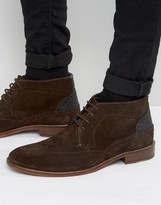 Ted Baker Pericop 2 Brogue Boots In Brown Suede